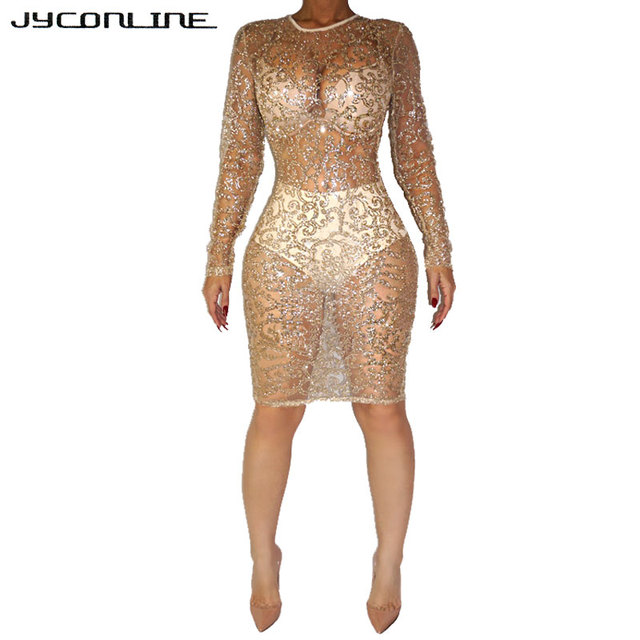 d82ed8bd378 JYConline Long Sleeve Sheer Sequined Dress For Women Evening Sexy Club  Party Dresses Vestidos Plus Size Summer Mesh Dress Female