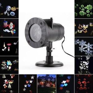 Image 4 - 12 דפוסי חג המולד לייזר פתית שלג מקרן ליל כל הקדושים חיצוני LED דיסקו אורות בית גן כוכב אור מקורה קישוט