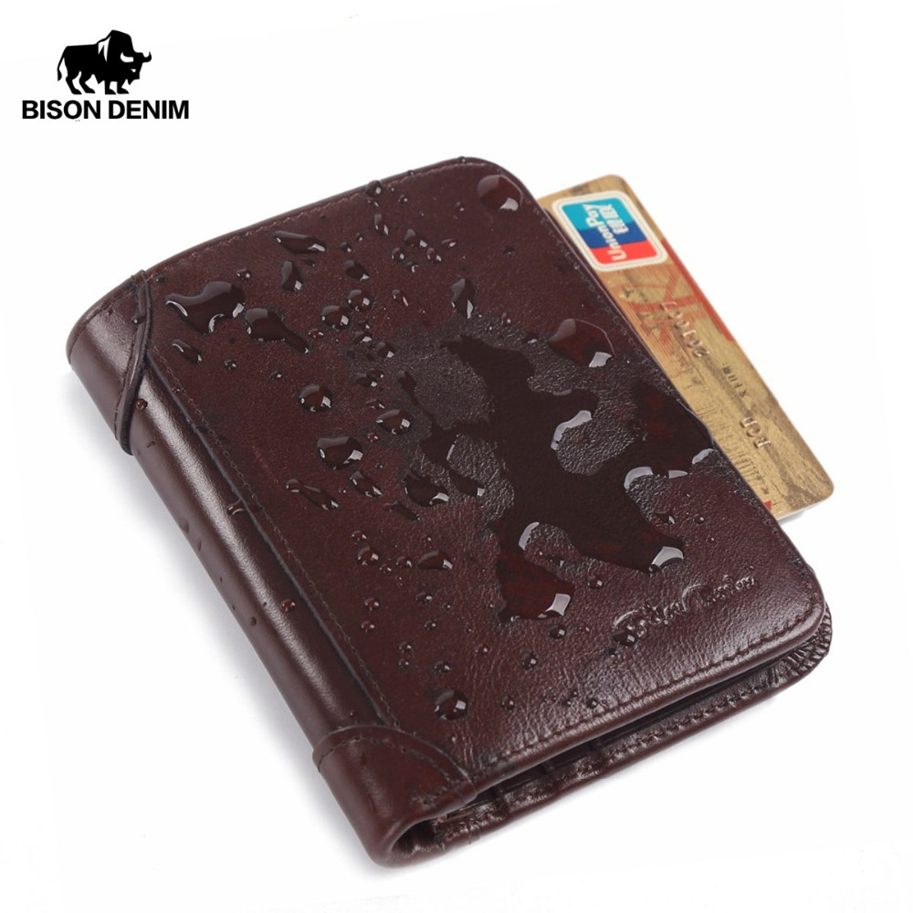BISON DENIM Genuine Leather RFID wallet Men red brown vintage purse card holder Brand men wallets dollar price Male Purse W4361 цена