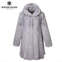 2018 sapphire fur coat with cap mink fur coat loose real fur coat large size fur coats for women fashion winter jacket