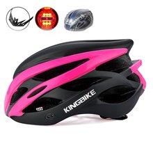 KINGBIKE 4 цвета, велосипедный шлем для женщин и мужчин, велосипедные шлемы со светом, горный велосипед, шоссейный MTB, интегрально формованный 2018, велосипедный шлем