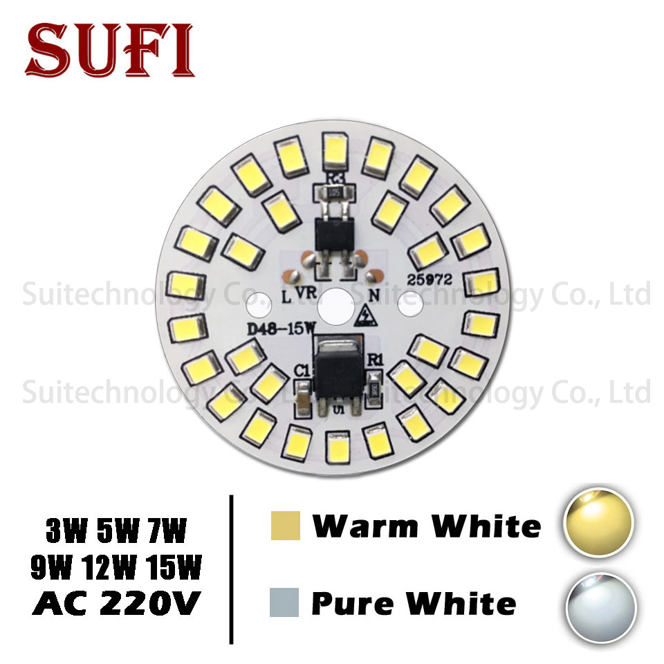 3W <font><b>5W</b></font> 7W 9W 12W 15W Light Chip Lamp <font><b>Bulb</b></font> Light AC 220V Input Smart IC SMD aluminum plate For DIY LED <font><b>Bulb</b></font> Pure White Warm White image