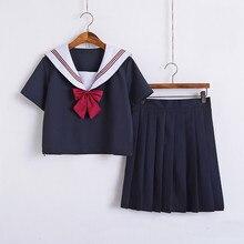 2019 Japanese School Uniforms For Girls Cute Short/Long-length Sailor Tops+Pleated Skirt Full Sets Cosplay JK Costume