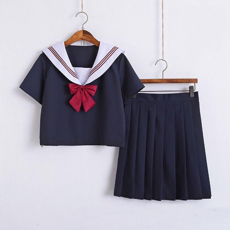 Orthodox School Girl Uniform Skirt Sailor Shirt Suits Basic Spring Summer Short Long Sleeve Kansai Japan School Uniforms