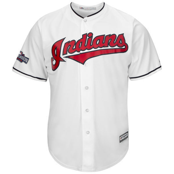 MLB Mens Cleveland Indians Francisco Lindor Baseball White 2016 Postseason Home Cool Base Jersey