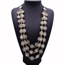 2015 nuevo diseño XG220 alta calidad Crystal collares largos y colgantes multicapas declaración flor collar de la joyería tejida a mano
