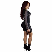 Vintage Design Dot Print Patchwork Mini Spirng Dresses 2018 Full Sleeve Bandage Sexy Night Club Clothing Multi Color Party Dress