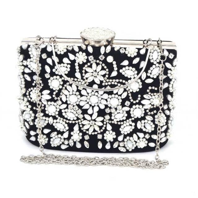 6486aa2717f5 Для женщин Вечерние сумки модные женские клатч цветок Клатчи женский  маленький бисером свадебные кошельки жемчугом свадебный