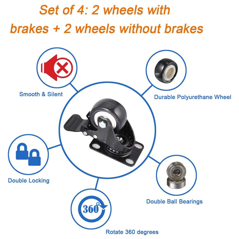 4 o rodízio resistente do bloco 2in roda o giro do poliuretano com capacidade total superior da placa 220lb de 360 graus para a mobília-4