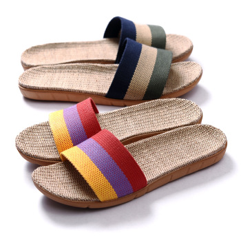 Suihyung été lin pantoufles femmes hommes décontracté lin diapositives multi-style anti-dérapant EVA maison pantoufles chaussures d'intérieur femmes sandales