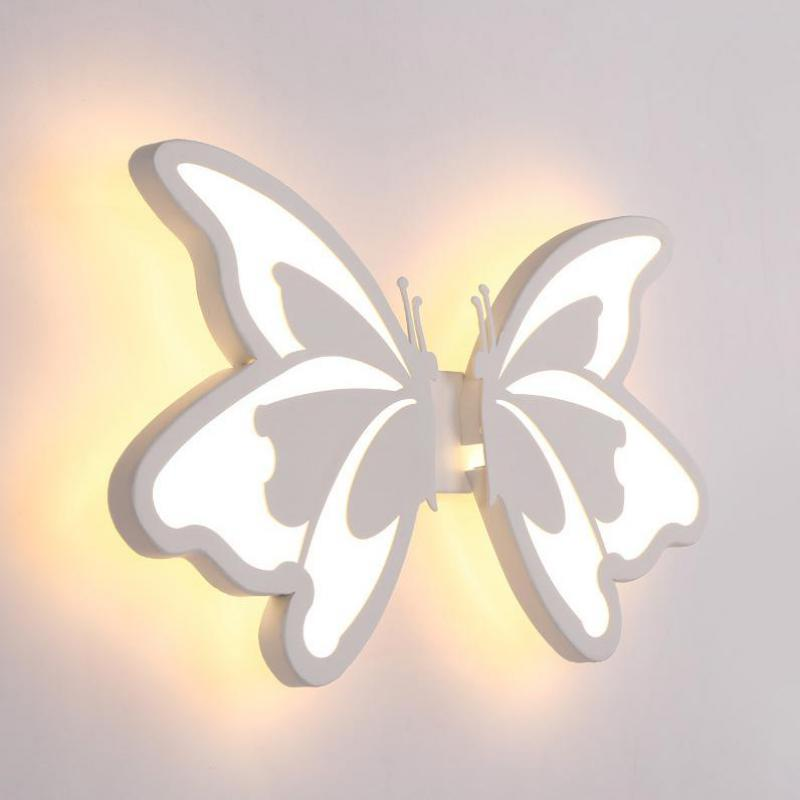 Contemporary LED Wall Light with butterfly lampshade For Bathroom Bedroom 24W Wall Sconce White Indoor Lighting lamp arylic title=
