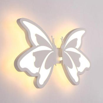 Contemporary LED Wall Light with butterfly lampshade For Bathroom Bedroom 24W Wall Sconce White Indoor Lighting lamp arylic