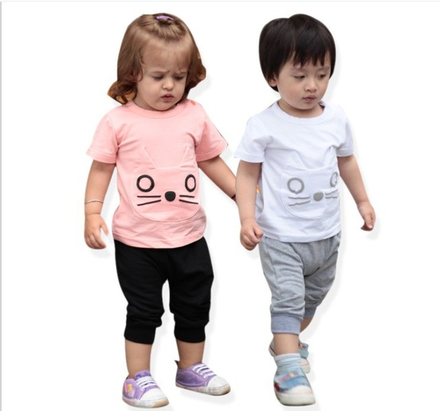 Free Shipping Wholesal Summer Clothes for Babies Cartoon Sports Active Designer Baby Wear Garment 2PCS Clothes Set T-shirt+Pants