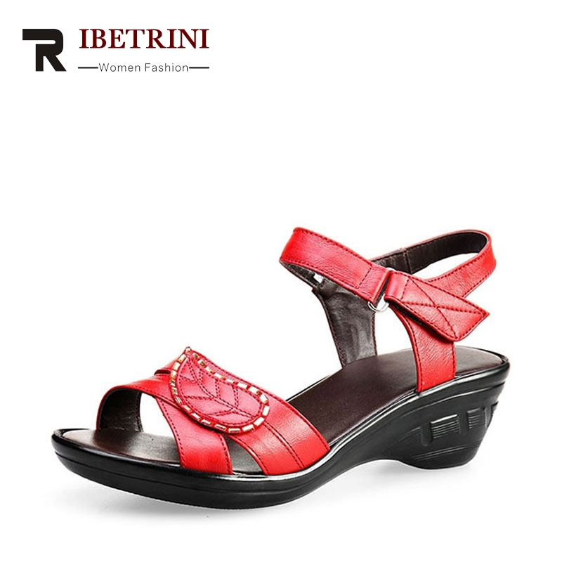 RIBETRINI Popular Ankle Straps Open Toe Platform Genuine Leather Summer Shoes Classic Low Heel Wedges Casual Sandals For Women mudibear women sandals pu leather flat sandals low wedges summer shoes women open toe platform sandals women casual shoes