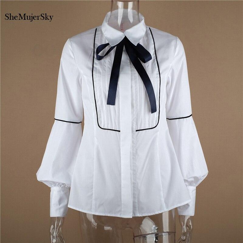 678c32ea5991 SheMujerSky mujer camisa blanca arco manga larga linterna blusa moda Tops  chemise femme nouvelle ...