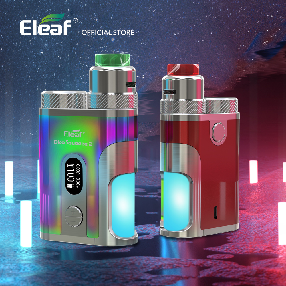 Original 100W Eleaf Kit Pico Squeeze 2 Kit with Coral 2 Atomizer 8ml tank electronic cigarette vape kit original electronic cigarettes eleaf pico squeeze 2 kit pico squeeze 2 with coral 2 100w squonker box mod vaporizer 8ml bottle