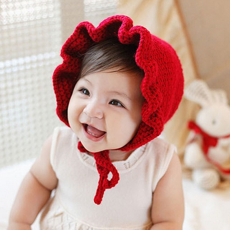 Newborn Baby Hats Cute Ruffle Floral Kids Hat Ears Warm Kintting Beanie Baby Cap Children Solid Red Grey Cotton Hats