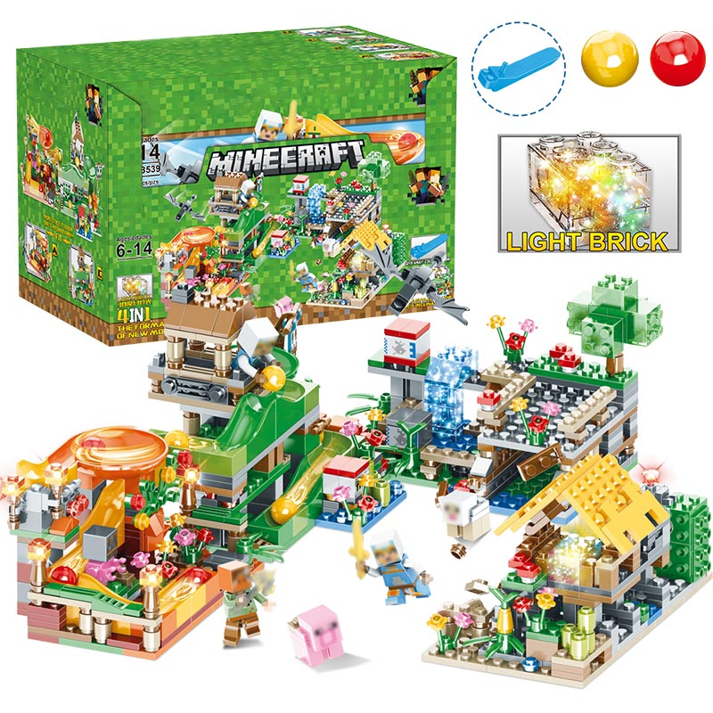 878 PCS Bricks My World Track Beads Building Blocks Compatible LegoINGLY Minecraft Village Figures 3D Light Enlighten Kids Toys lepin 18010 my world 1106pcs compatible building block my village bricks diy enlighten brinquedos birthday gift toys kids 21128