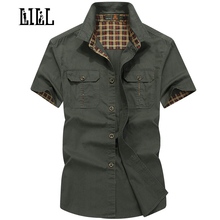 LILL | Plus Size 100% Pure Cotton Comfortable Male Casual Shirt Men Army AFS JEEP Shirts Short Sleeve Military Shirt,UMA173