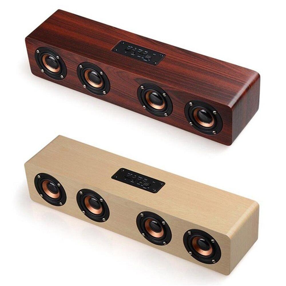 Haptime Hi fi Bluetooth Speaker Sound System 12W USB Charging Wood Speaker Portable Wireless Party Speaker