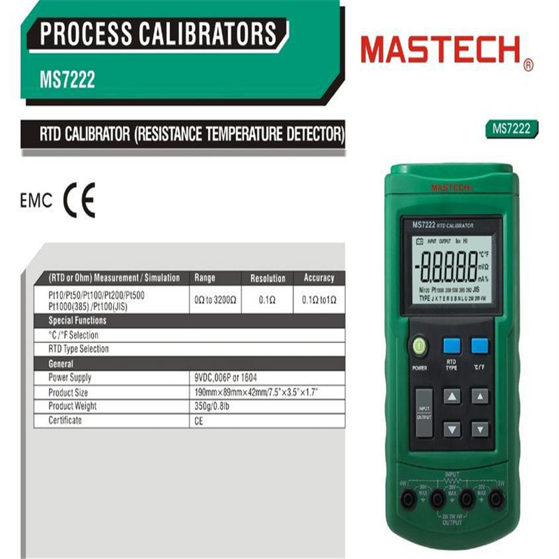 Resistance Temperature Detector RTD Calibrator Simulate Measure 7RTD Ohm MASTECH MS7222