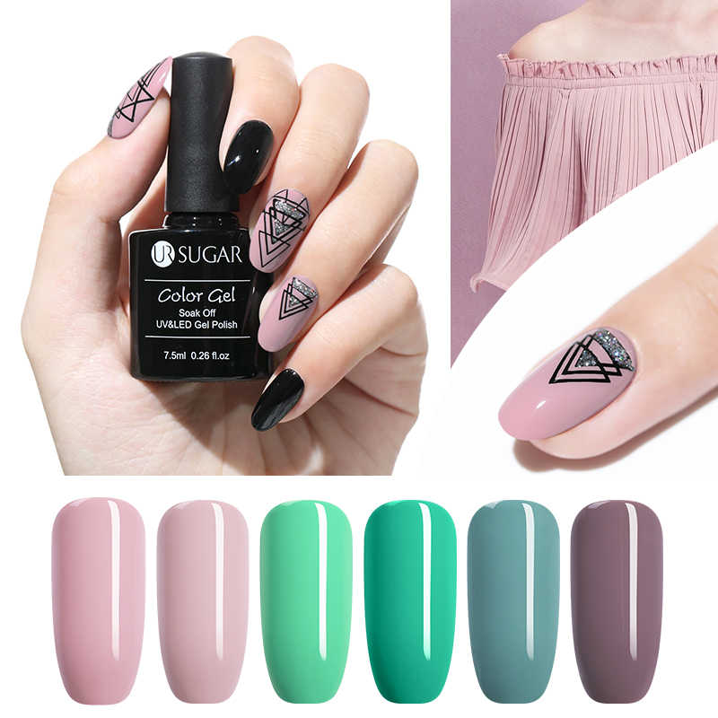O brilho puro do polonês do gel da cor do prego do açúcar 7.5ml do ur embebe fora o verniz uv do gel semi-permanente duradouro da laca uv do gel do esmalte conduziu