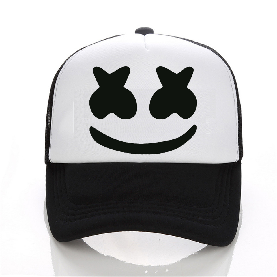 New Arrived marshmello face men baseball cap boy casual homme cap  Black White Hat Snapback Hat Women Cap