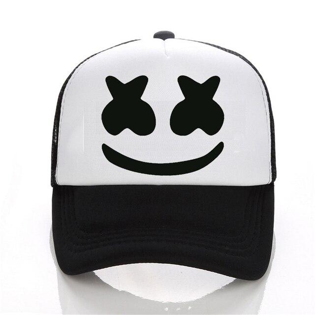 New Arrived marshmello face men baseball cap boy casual homme cap Black  White Hat Snapback Hat Women Cap c33eb19fc3a