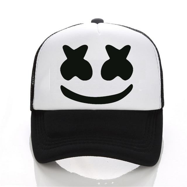 Nuevo llegado marshmello cara hombres gorra de béisbol niño casual homme  cap negro sombrero blanco 14aad3b8790