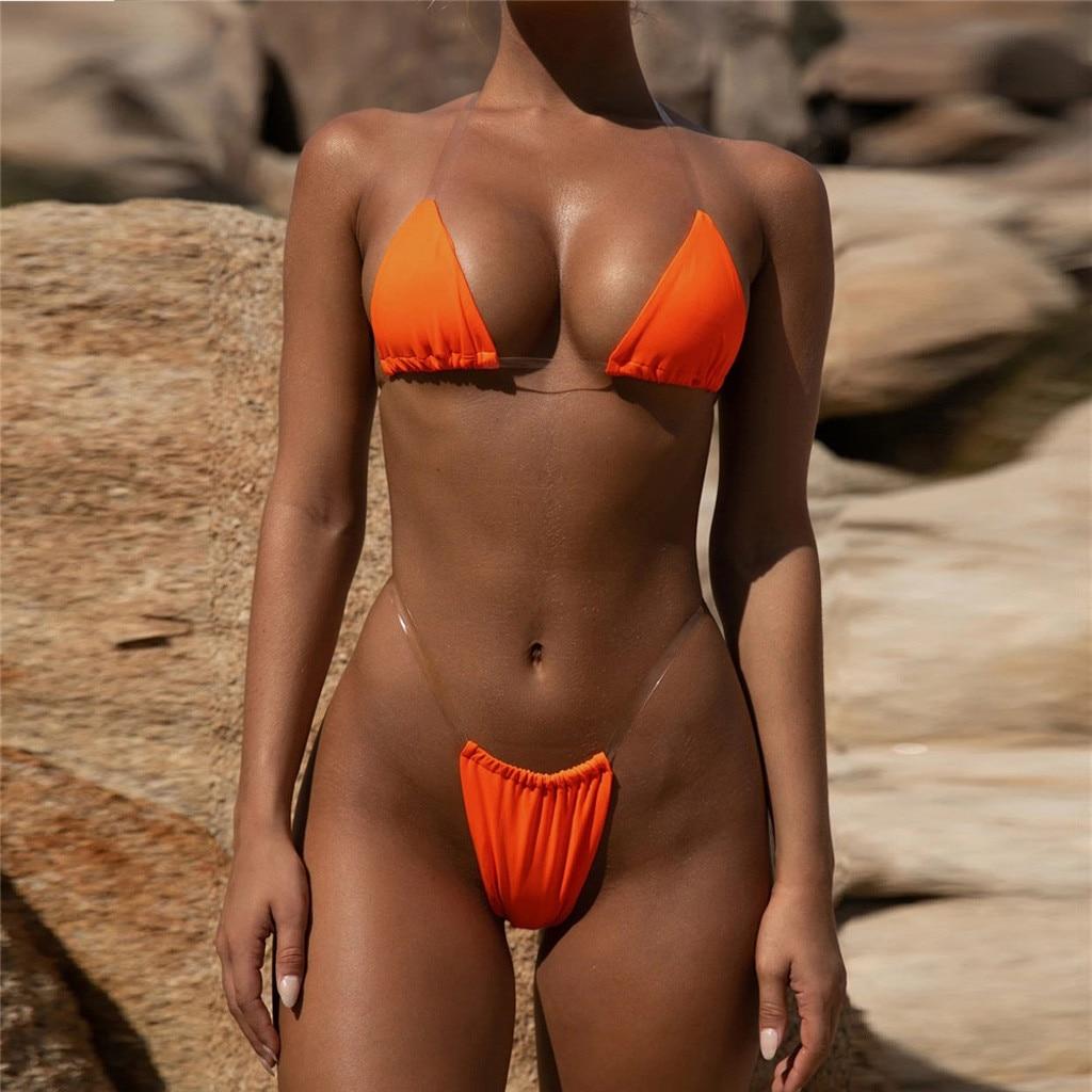 Transparent micro bikini 2019 Sexy thong swimsuit separate Bandeau Bikini Set Push-Up Clear Strap Brazilian Swimwear Biquini #H