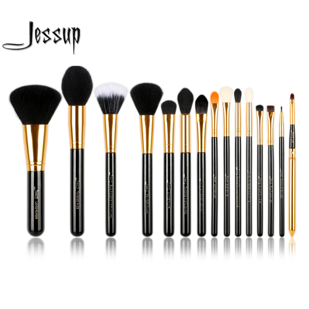 Jessup 15pcs Makeup Brushes Set Powder Foundation brush Eyeshadow Eyeliner Lip Brush Tool Black / Gold make up Cosmetic beauty jessup brushes 15pcs beauty makeup