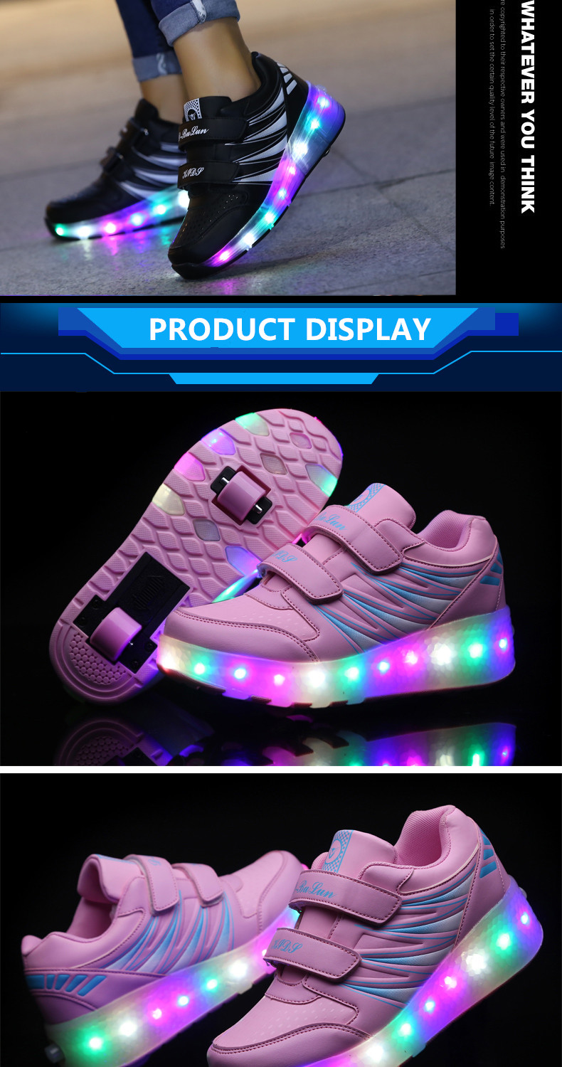 2017 Child Girls Boys Roller Skate Shoes LED Light Black Pink Children Glowing Sneakers With Wheels For Kids tenis de rodinha5