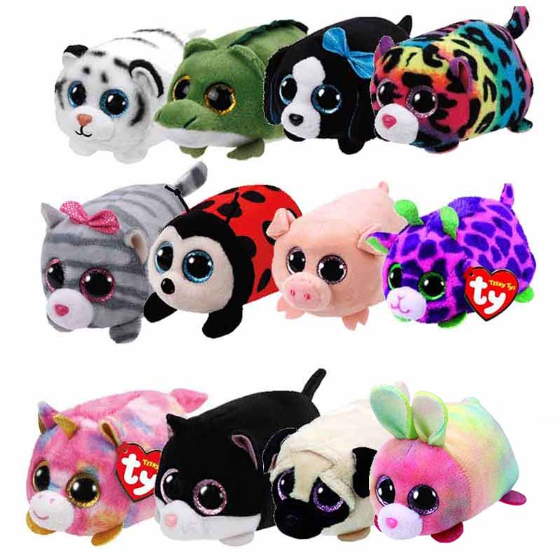 10CM Mini Teeny Tys Ty Plush Toys Beanie Boos Big Eyes Fox Unicorn Bunny Dragon Pocket TSUM Candy Pig Stuffed Doll TY Kids Gift цена