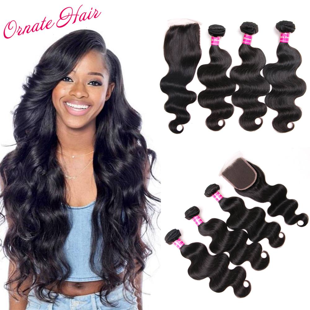 Ornate Brazilian Hair Weave Bundles With Closure 3 Bundles Brazillian Body Wave 4*4 Free Part Lace Closure Natural Color