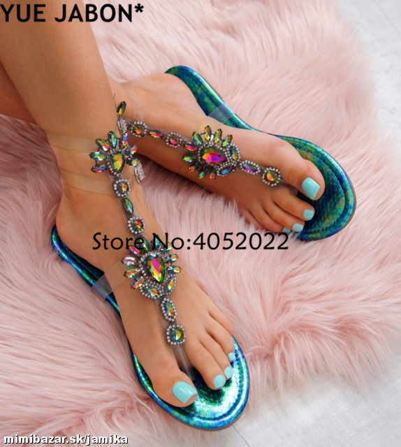 2018 Woman Sandals Women Shoes Rhinestones Gladiator Flat Sandals Crystal  Chaussure Plus Size 43 tenis feminino Green Flip Flops-in Women s Sandals  from ... d979ed15ac1c