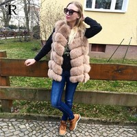 Nature Real Fox Fur Vest Whole Fur Real Leather Vest Gilet Wholesale Dropship Women Winter Covered Jackets Coat Vest By Topfur