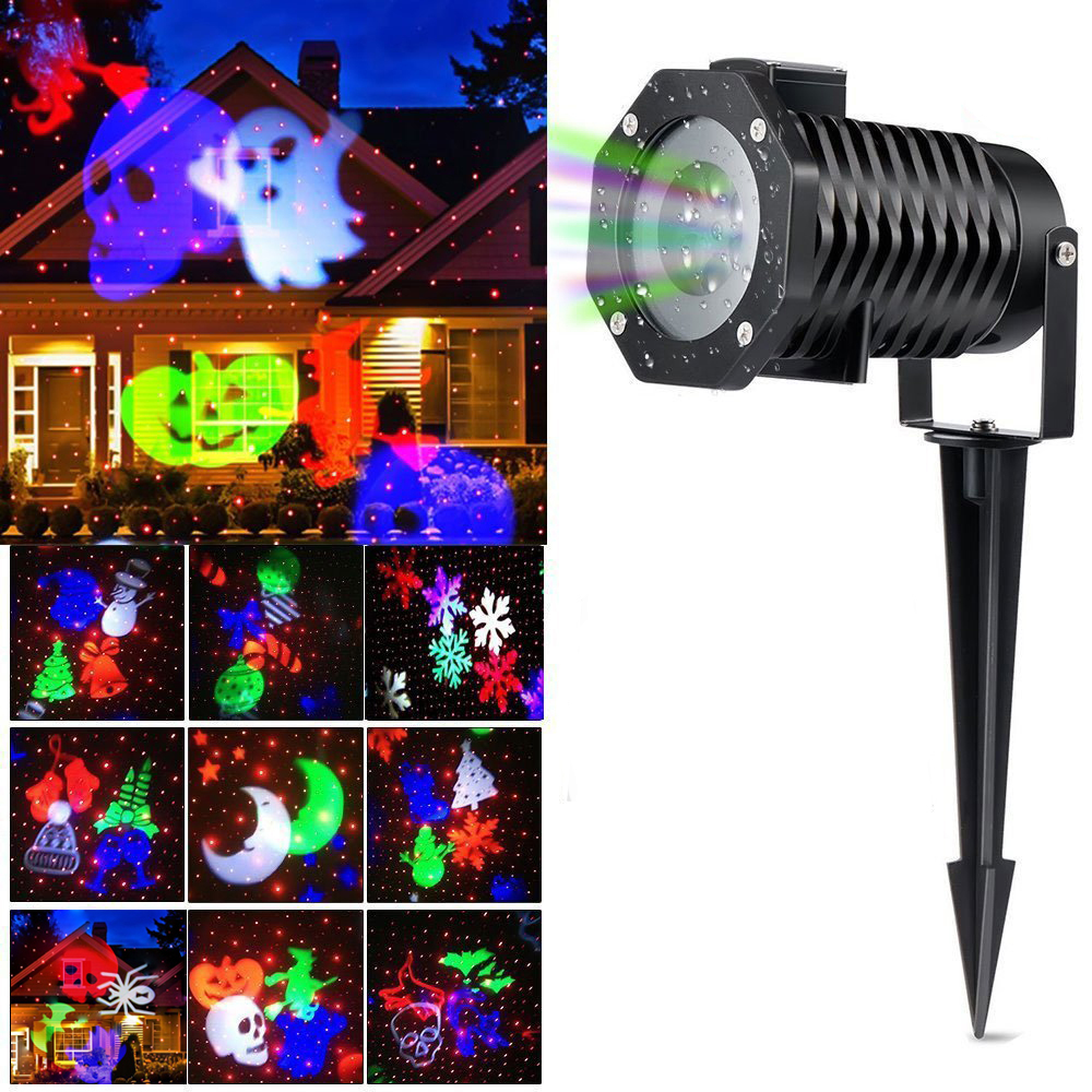 Christmas Light Projector Ucharge Rotating Projector Snowflake Spotlight Led Light Show for Halloween Party Holiday Decoration waterproof projector lamps rgbw snowflake led stagelights outdoor indoor decor spotlights for christmas party holiday decoration