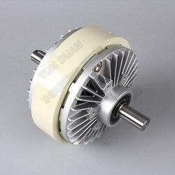 Embreagem magnética do pó 6nm 0.6kg eixo duplo duplo 2 eixo dc 24 v freio de enrolamento para a máquina de tingimento de impressão do saco de controle de tensão