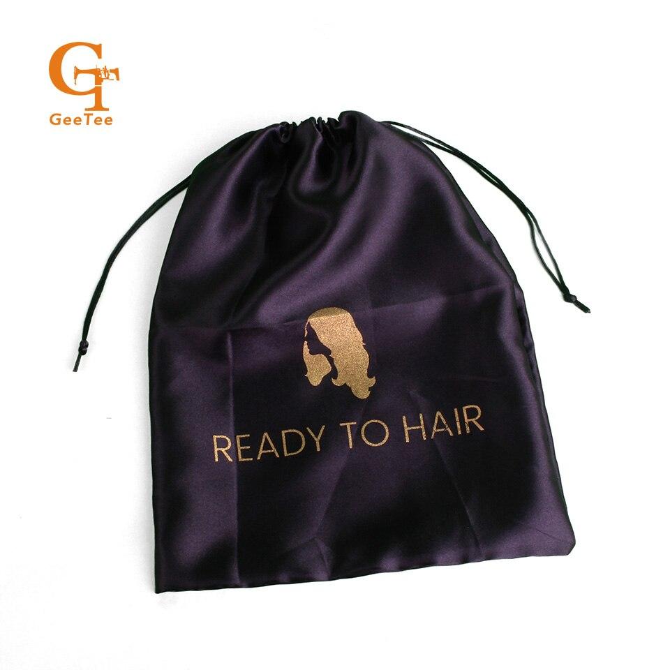 Niestandardowe Logo marki nazwa ludzkie dziewicze włosy najwyższej jakości rozszerzenie peruki opakowania satynowe torby, przedłużanie włosów wiązki do pakowania jedwab torby w Torby na prezenty i przybory do pakowania od Dom i ogród na  Grupa 3