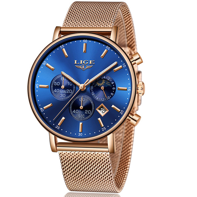 LIGE New Mens Watches Top Brand Luxury Fashion Ultra Thin Blue Strap Quartz Watch Men Moon Phase Clock Calendar Waterproof Watch | Fotoflaco.net