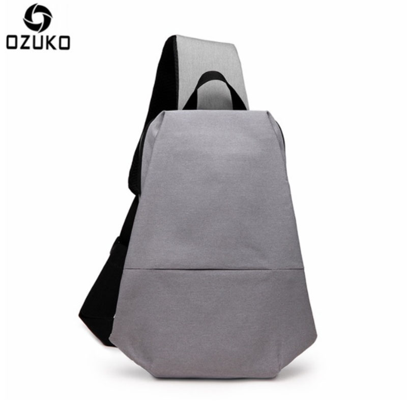 OZUKO 2017 Canvas Men Chest Pack Multifunctional Leisure One Shoulder Messenger Bags Fashion High-Capacity For Teenagers Men Bag 2017 summer high capacity chest bag for men