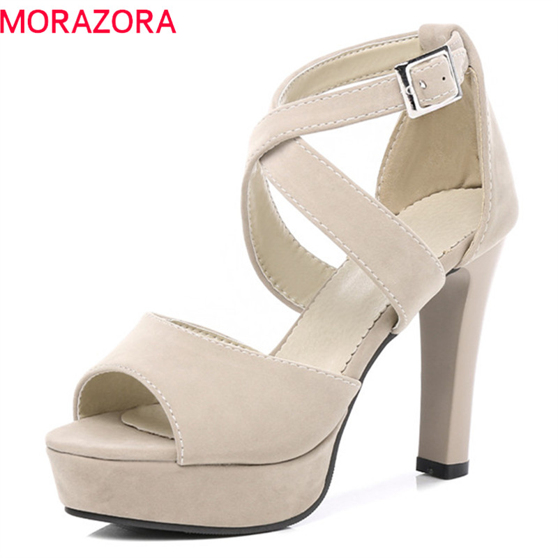 MORAZORA 2018 new style women sandals top quality flock fashion shoes simple buckle solid dress shoes sexy 11cm high heels shoes