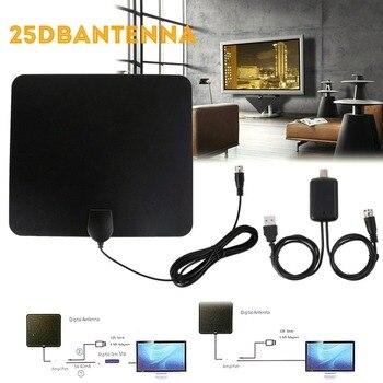 25DB ligero Delgado plano interior HDTV amplificado HD TV Antena multidireccional Digital interior TV Antena fácil de configurar