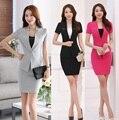 Nova Verão 2017 Formal Feminino Saia Ternos para Mulheres de Negócio Ternos Blazer e Jaqueta Conjuntos de Senhoras De Escritório Salão de Beleza Uniforme