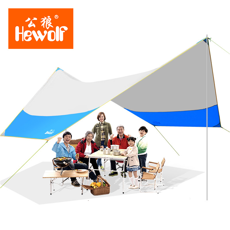 Hewolf 5-8 personne Camping extérieur tente Anti-UV abri famille Camping ombre Anti-UV grande tente pour Camping partie abri soleil