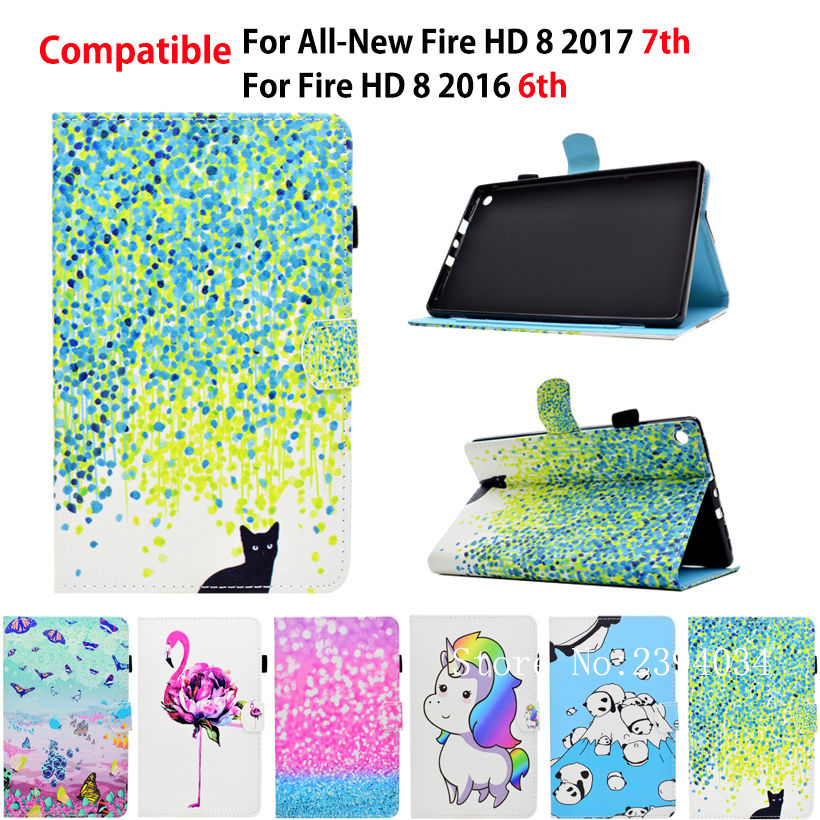For Amazon All-New Kindle Fire HD 8 2017 7th Generation Case PU Leather Stand Smart Cover Funda For kindle Fire HD 8 2016 6th new kindle fire hd8 flip pu leather case cover colorful print luxury protective stand shell for amazon new kindle fire hd 8 2016