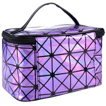 3D laser Diamond Pattern Portable Cosmetic Bag Hot Women Makeup bag Travel Portable Handbag Maleta Make-up Tools 3.84