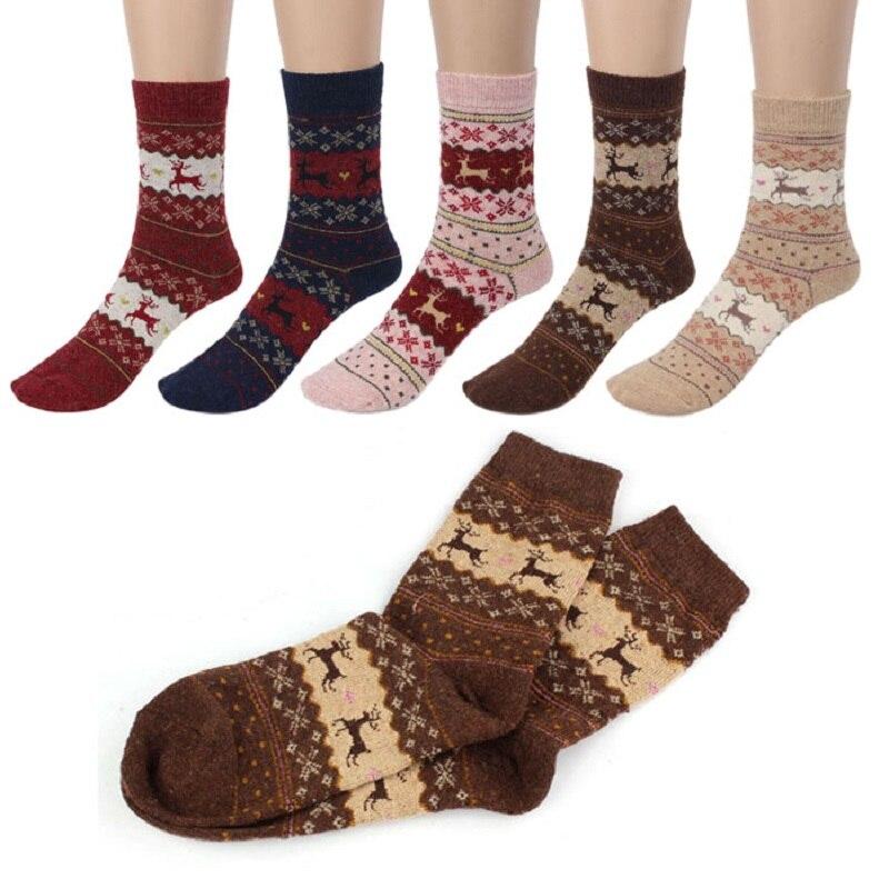 2019 Cute Christmas Deer Cartoon Design Casual Knit Wool Socks Warm Winter Mens Funny Ankle Socks Meias Calcetines #C259