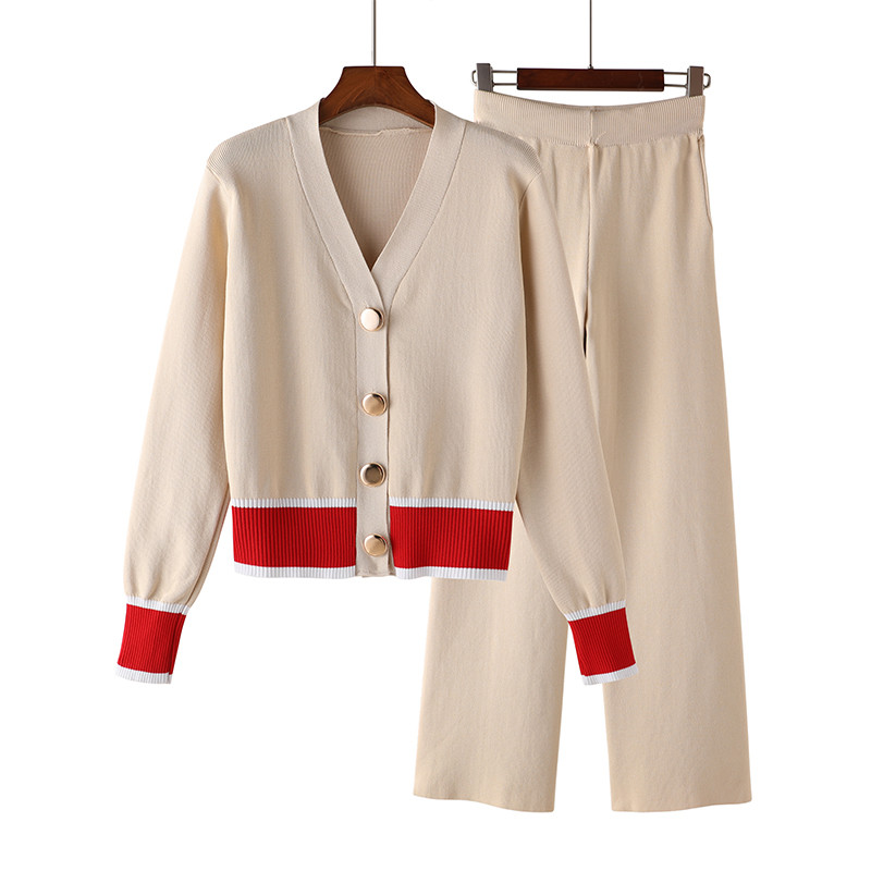 Femmes survêtement ensemble Style élégant Cardigan chandail ensembles tricot Long pantalon costumes sans effort Chic deux pièces costume décontracté sweats