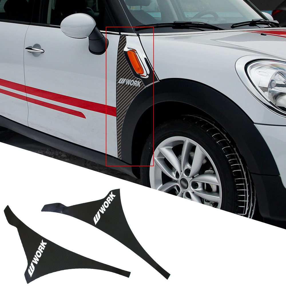 2 штуки 5Д волокна виниловая наклейка карбон для мини Купер Односельчанина R60 переднее крыло воздуха Вент отделкой иллюминаторов наклейки